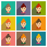 Insieme delle icone piane di web con il women& lungo x27 dell'ombra; taglio di capelli di s illustrazione di stock