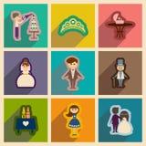 Insieme delle icone piane di web con nozze lunghe dell'ombra Fotografia Stock Libera da Diritti