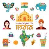 Insieme delle icone piane indiane Fotografia Stock Libera da Diritti