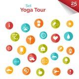 Insieme delle icone piane per il manifesto di yoga, sito di yoga Icone di yoga di vettore Immagine Stock