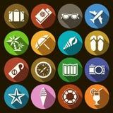 Insieme delle icone piane a proposito del viaggio nella progettazione piana Fotografia Stock