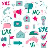 Insieme delle icone piane Reti sociali, Internet, tecnologie moderne Bottoni e puntatori illustrazione di stock