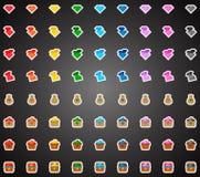 Insieme delle icone piane variopinte del gioco dei cristalli Fotografia Stock Libera da Diritti