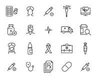 Insieme delle icone premio dell'ospedale nella linea stile Immagine Stock Libera da Diritti