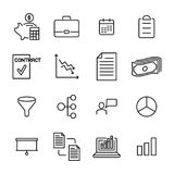 Insieme delle icone premio di strategia nella linea stile Immagini Stock Libere da Diritti