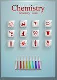 Insieme delle icone quadrate di vetro chimica d'istruzione medicina scienza Fotografia Stock