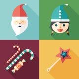Insieme delle icone quadrate piane santa Ragazza della neve Caramella Bacchetta magica Fotografia Stock