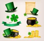 Insieme delle icone relative di giorno della st Patricks. royalty illustrazione gratis