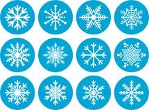 Insieme delle icone rotonde del fiocco di neve Fotografia Stock Libera da Diritti