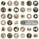 Insieme delle icone rotonde di musica Immagini Stock Libere da Diritti