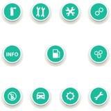 Insieme delle icone rotonde per servizio dell'automobile Immagini Stock Libere da Diritti