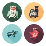 Insieme delle icone rotonde piane degli animali con le ombre lunghe Immagini Stock Libere da Diritti