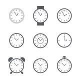Insieme delle icone semplici dell'orologio Fotografia Stock