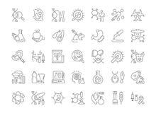 Insieme delle icone semplici di ingegneria del genoma illustrazione di stock