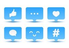 Insieme delle icone sociali di media illustrazione di stock