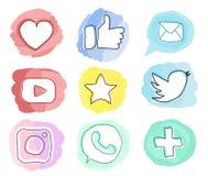 Insieme delle icone sociali di media Scarabocchio d'avanguardia dell'acquerello di stile Vettore nei colori pastelli Immagine Stock Libera da Diritti