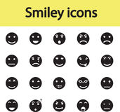 Insieme delle icone sorridente con differenti emozioni Immagine Stock Libera da Diritti