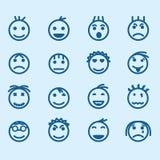 Insieme delle icone sorridente con differenti emozioni Fotografia Stock