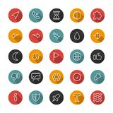 Insieme delle icone sottili piane Linee di stile Raccolta di vettore Fotografia Stock