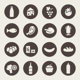 Insieme delle icone su un alimento di tema Fotografia Stock Libera da Diritti