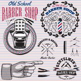 Insieme delle icone su un negozio di barbiere di tema Fotografia Stock Libera da Diritti