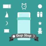 Insieme delle icone su un tema di sonno profondo Fotografia Stock