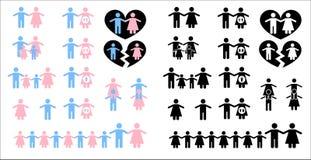 Insieme delle icone sul tema della famiglia Fotografia Stock Libera da Diritti
