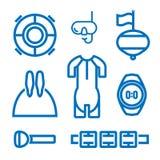 Insieme delle icone sul tema di freediving Fotografia Stock Libera da Diritti