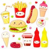 Insieme delle icone sveglie dell'alimento nello stile di kawaii Immagine Stock Libera da Diritti