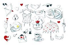 Insieme delle icone sveglie per il giorno del biglietto di S. Valentino s su fondo bianco Immagine Stock Libera da Diritti