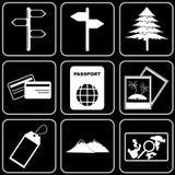 Insieme delle icone - trasporto, viaggio, resto Immagine Stock