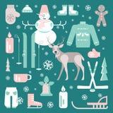 Insieme delle icone uniche di inverno Fotografia Stock