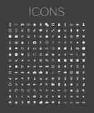 Insieme delle icone universali di web su un fondo grigio Fotografie Stock Libere da Diritti