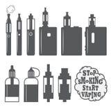 Insieme delle icone vaping degli oggetti, elementi Immagine Stock Libera da Diritti