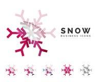 Insieme delle icone variopinte astratte di logo del fiocco di neve Immagine Stock