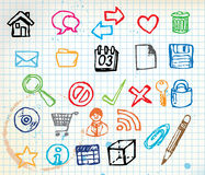 Insieme delle icone variopinte del calcolatore di doodle Fotografia Stock