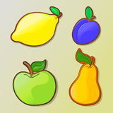 Insieme delle icone variopinte della frutta del fumetto Royalty Illustrazione gratis