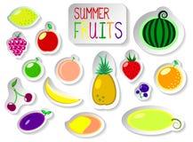 Insieme delle icone variopinte della frutta di vettore Fotografia Stock