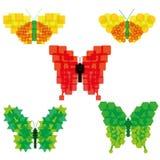 Insieme delle icone variopinte delle farfalle dell'estratto di vettore isolate Immagine Stock Libera da Diritti