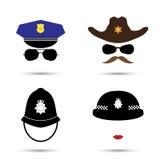 Insieme delle icone variopinte di vettore su bianco Icona del poliziotto Icona dello sceriffo Icona del cowboy Polizia britannica Immagini Stock Libere da Diritti