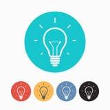 Insieme delle icone variopinte semplici della lampadina Fotografia Stock Libera da Diritti