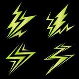 Insieme delle icone verdi del fulmine Immagini Stock Libere da Diritti