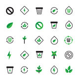Insieme delle icone verdi nere di ecologia Illustrazione ecologica Fotografia Stock Libera da Diritti