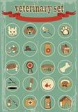 Insieme delle icone veterinarie di vettore Immagini Stock Libere da Diritti