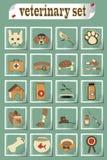 Insieme delle icone veterinarie di vettore Fotografie Stock Libere da Diritti