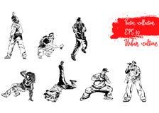 Insieme delle illustrazioni con i rappresentanti di cultura urbana Breakdancers, rapers ed artisti dei graffiti Stampa moderna di illustrazione di stock
