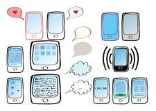 Insieme delle illustrazioni con i telefoni, le compresse, gli sms e le icone Fotografia Stock