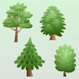 Insieme delle illustrazioni degli alberi illustrazione di stock