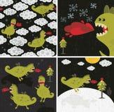 Insieme delle illustrazioni dei draghi. Immagini Stock Libere da Diritti