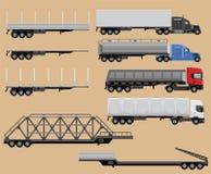 Insieme delle illustrazioni dei trattori e dei rimorchi del camion Immagini Stock